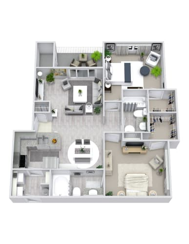 Floor Plan  2 Bedroom, 2 Bath 1000 sqft