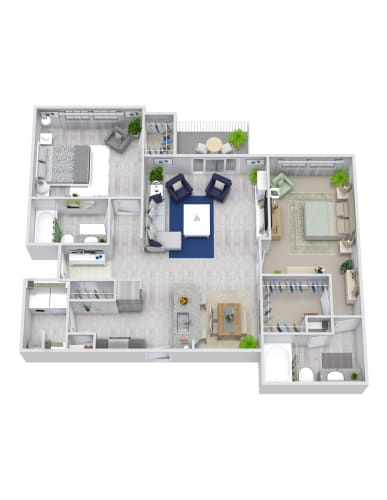 Floor Plan  2 Bedroom, 2 Bath, Garage 1124 sqft