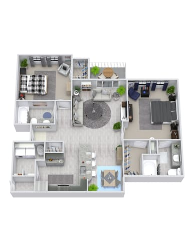 Floor Plan  2 Bedroom, 2 Bath 1146 sqft