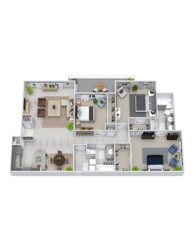 Floor Plan  3 Bedroom, 2 Bath 1415 sqft
