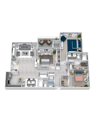 Floor Plan  3 Bedroom, 2 Bath, Garage 1368 sqft