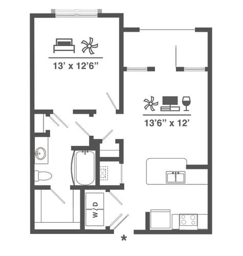Floor Plan  A1 One Bedroom 684 sq ft