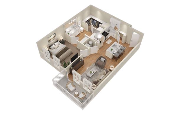 Floor Plan  A2 One Bedroom 713 sq ft