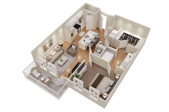 Floor Plan  A3 One Bedroom 781 sq ft