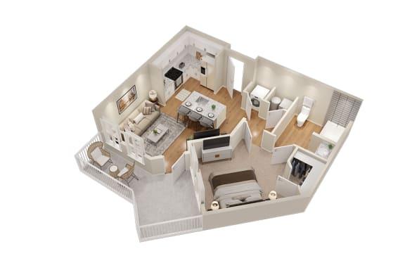 Floor Plan  A1 One Bedroom 611 sq ft