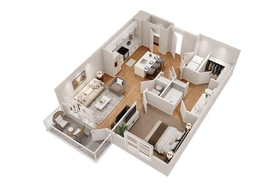 Floor Plan  A4 One Bedroom 807 sq ft