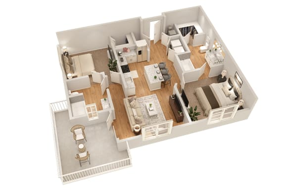 Floor Plan  B1 Two Bedroom 995 sq ft