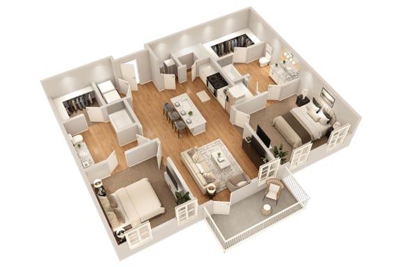 Floor Plan  B2 Two Bedroom 1009 sq ft