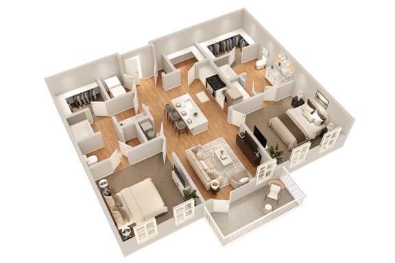 Floor Plan  B3 Two Bedroom 1090 sq ft