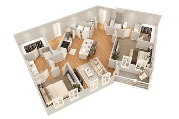 Floor Plan  B5 Two Bedroom 1268 sq ft