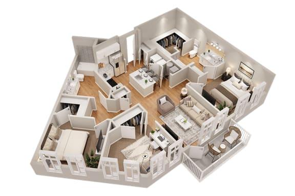 Floor Plan  C1 Three Bedroom 1340 sq ft