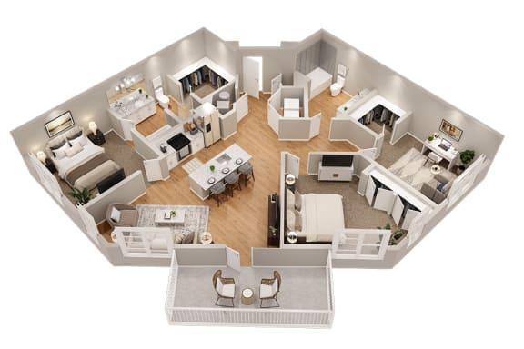 Floor Plan  C2 Three Bedroom 1375 sq ft