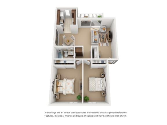 Floor Plan  2 Bedroom 1 Bathroom Plan 2 3D Floor Plan Layout at Encina Meadows, Goleta, CA