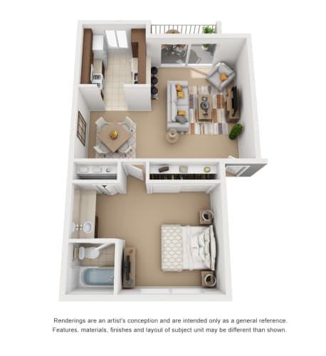 Floor Plan  1 Bedroom 1 Bathroom Plan1 3D