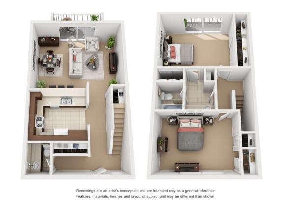 Floor Plan  2 Bedroom 1.5 Bathroom Plan 3 3D Floor Plan Layout at Encina Meadows, Goleta, 93117