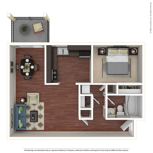 Floor Plan  1BR/1BA A 1 Bed 1 Bath Floor Plan at Crooked Oak at Loma Verde Preserve, California