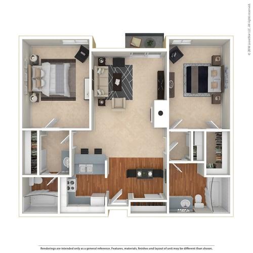 Floor Plan  2BR/2BA 2 Bed 2 Bath Floor Plan at Twenty 2 Eleven Apartments, Canoga Park