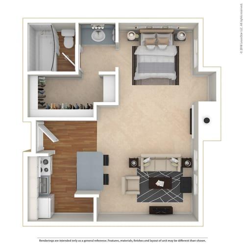 Floor Plan  Studio 0 Bed 1 Bath Floor Plan at Twenty 2 Eleven Apartments, Canoga Park, CA, 91306