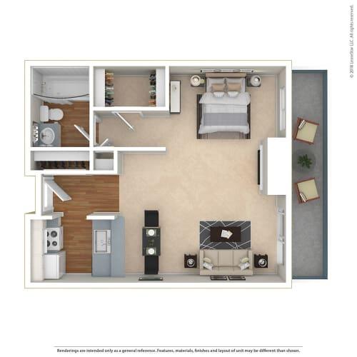 Floor Plan  STUDIO - LARGE 0 Bed 1 Bath Floor Plan at Twenty 2 Eleven Apartments, Canoga Park, CA