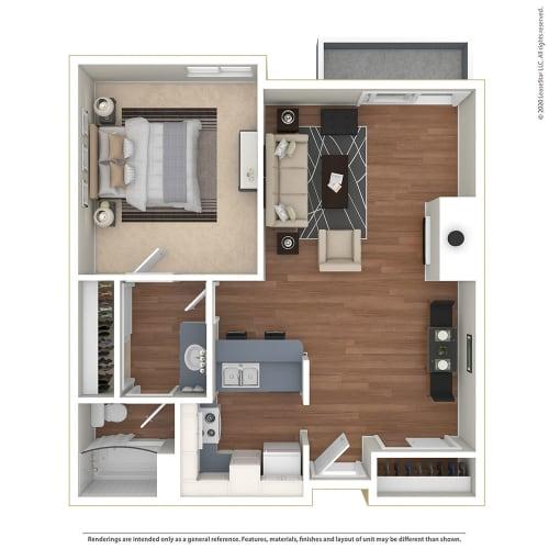 Floor Plan  1BR/1BA 1 Bed 1 Bath Floor Plan at Twenty 2 Eleven Apartments, Canoga Park, 91306