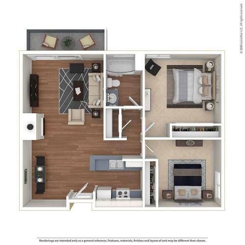 Floor Plan  2BR/1BA 2 Bed 1 Bath Floor Plan at Twenty 2 Eleven Apartments, Canoga Park, California