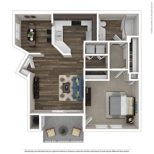 Floor Plan  1 Bed, 1 Bath Floor Plan at Renaissance Apartment Homes, California