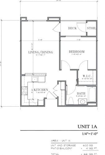 Floor Plan  Burbank Senior Artists Colony Burbank, CA 1A Floor Plan 620 SF