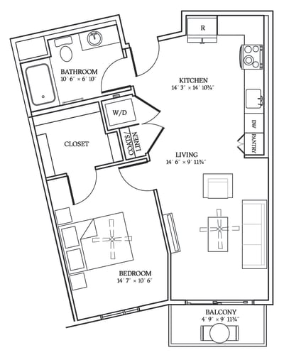 Floor Plan  Aliso A02 691 SF