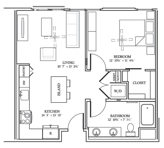 Floor Plan  Aliso A03 693 SF
