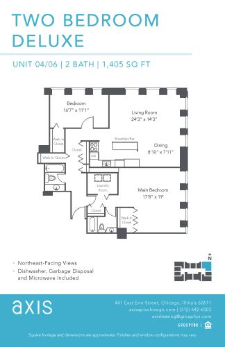 Floor Plan  Axis Two Bedroom Deluxe Apartment