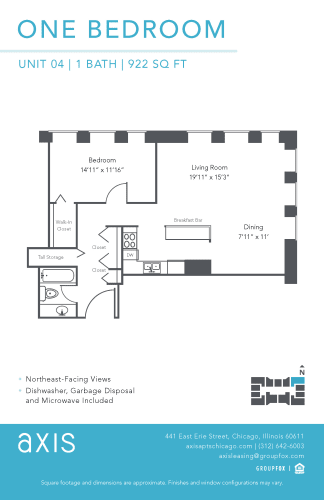 Floor Plan  Axis One Bedroom Apartment