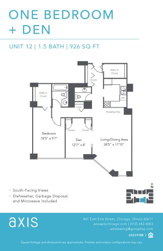 Floor Plan  Axis One Bedroom Den Apartment