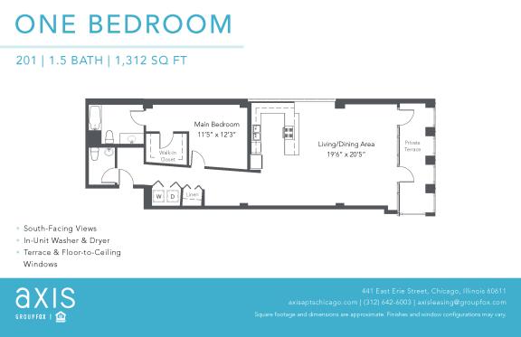Floor Plan  Axis One Bedroom Loft