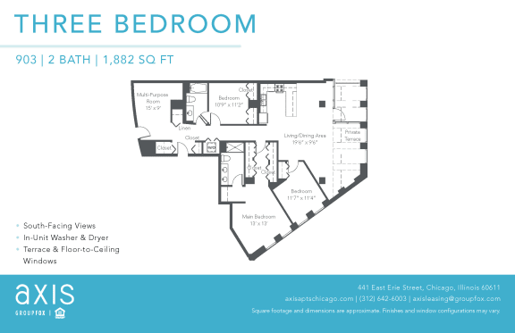 Floor Plan  Axis Three Bedroom Loft
