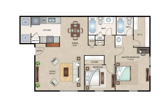 Floor Plan  Willow floor plan layout at Arbors of Corsicana Apartments