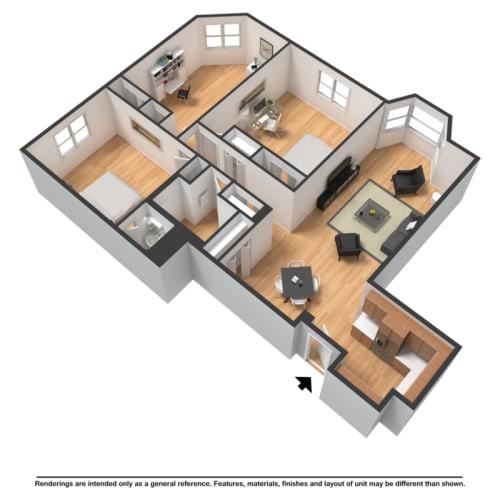 Floor Plan  Three bedroom highrise rendering