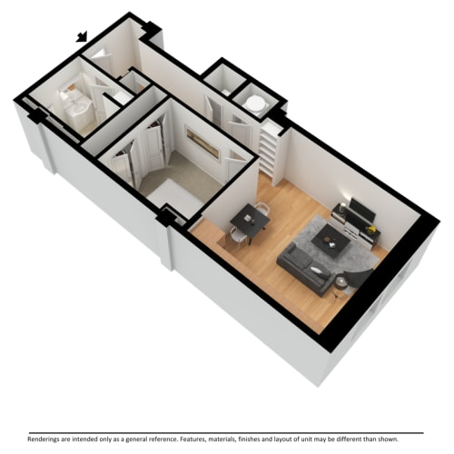 Floor Plan  One bedroom apartment 3d floor plan