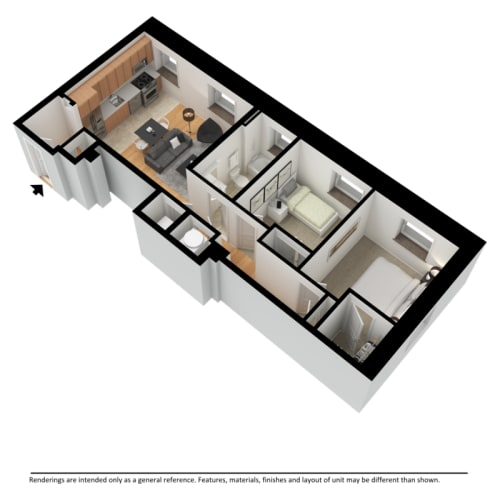 Floor Plan  Two bedroom 3d floor plan