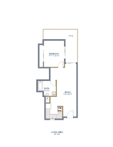 Floor Plan  Monarch Terrace one bedroom one bathroom floor plan