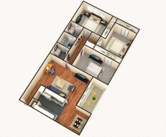 Floor Plan  The Summit 3 bedroom 1.5 bathroom floor plan