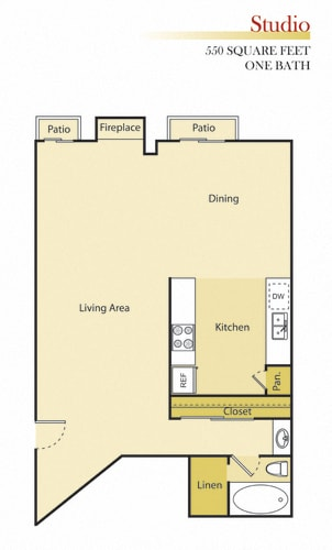 Floor Plan  Woodman Lassen Apartments studio floor plan