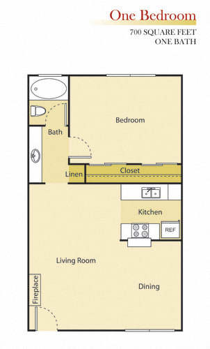 Floor Plan  Woodman Lassen Apartments one bedroom floor plan