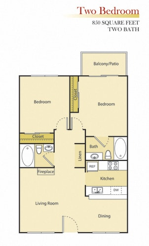 Floor Plan  Woodman Lassen Apartments two bedroom floor plan