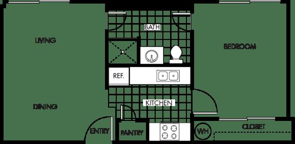 Floor Plan  Wakea Garden Apartments studio floor plan