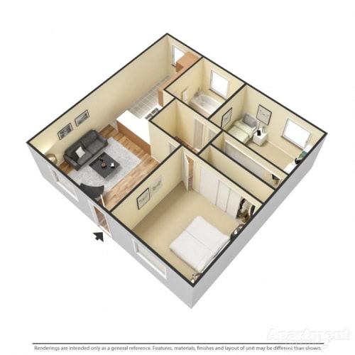 Floor Plan  Capistrano Gardens 2 bed 1 bath floor plan