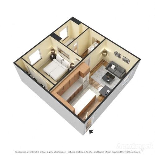 Floor Plan  Capistrano Gardens 1 bed 1 bath floor plan