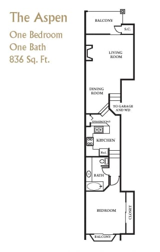 Floor Plan  Brownstone Townhomes 1 bedroom 1 bathroom floor plan