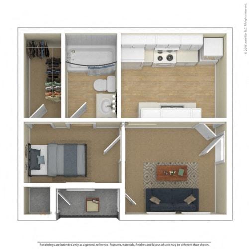 Floor Plan  Bedford Oaks Apartments 1 bedroom 1 bathroom floor plan