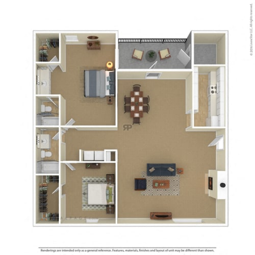 Floor Plan  Bedford Oaks Apartments 2 bedroom 2 bathroom floor plan