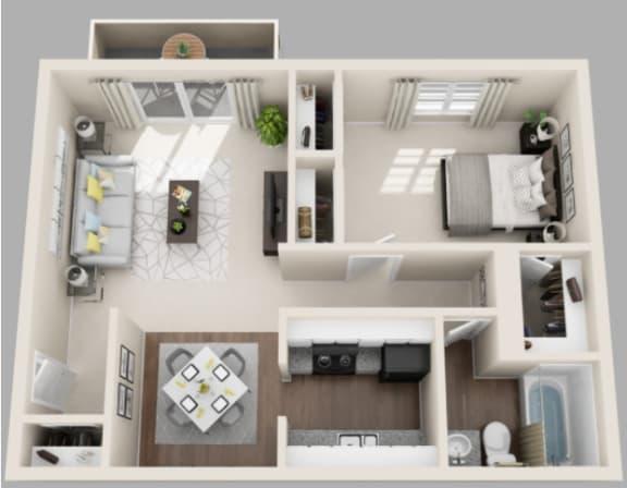 Floor Plan  El Castillo Apartments One Bedroom One Bathroom floor plan